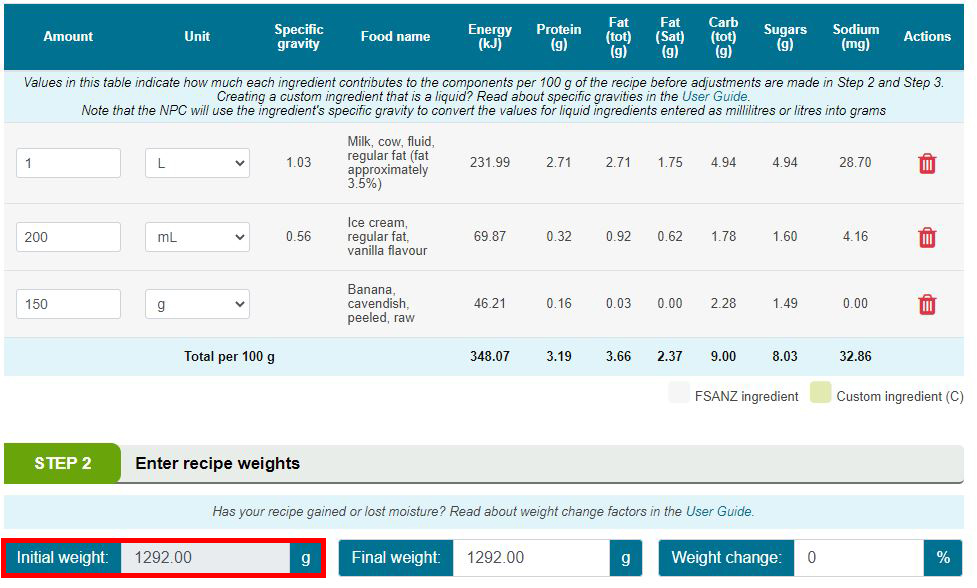 NPC initial weight option b